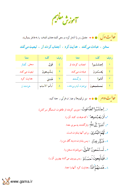 پاسخ فعالیت، انس با قرآن و تمرین آموزش قرآن هشتم | جلسه دوم درس 11: سوره زُمَر
