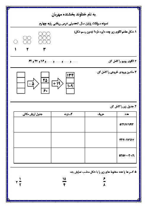تمرین دوره ای کل کتاب ریاضی چهارم دبستان نصرت مظاهری کرج