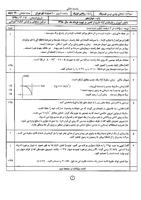 سوالات امتحان نهایی فیزیک (3) دوازدهم رشته ریاضی هماهنگ مدارس خارج از کشور | نوبت صبح خرداد 1398
