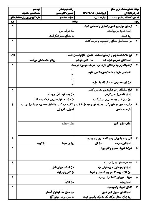 سوالات امتحان نوبت اول منطق پایه دهم رشته انسانی دبیرستان امام رضا (ع) واحد 10 منطقه تبادکان   دی ماه 96