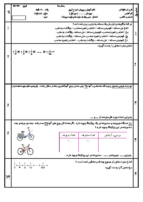 آزمون پایانی فصل 1 ریاضی هفتم دبیرستان مهر البرز | راهبرد های حل مسئله