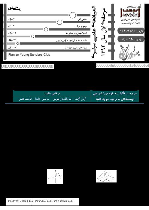 آزمون مرحله اول بیست و چهارمین المپیاد شیمی کشور با پاسخ سوالات | بهمن 1392