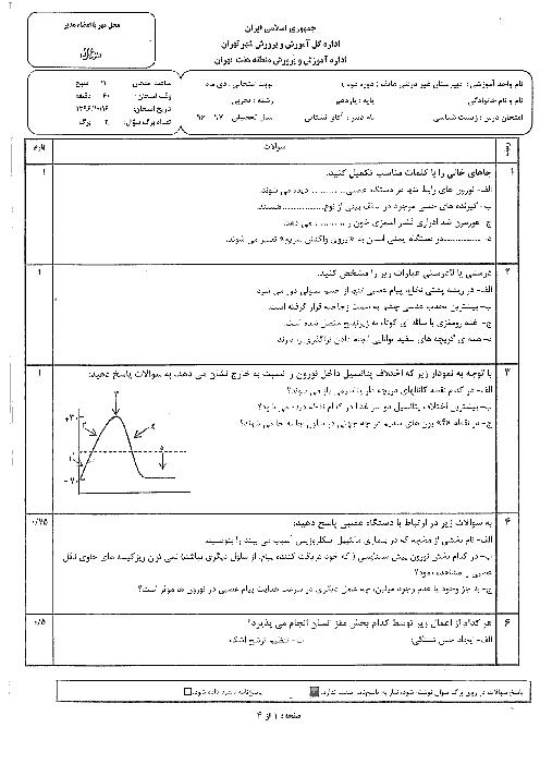 سوالات امتحان نوبت اول زیست شناسی (2) پایه یازدهم دبیرستان غیرانتفاعی هاتف | دی 1396