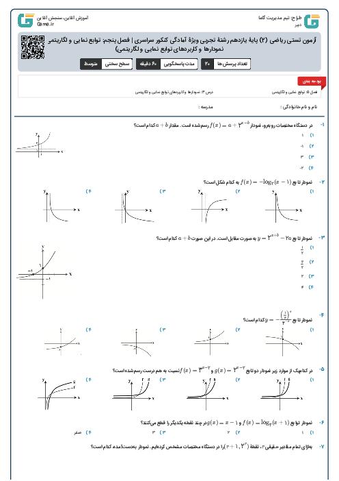 آزمون تستی ریاضی (2) پایۀ یازدهم رشتۀ تجربی ویژۀ آمادگی کنکور سراسری | فصل پنجم: توابع نمایی و لگاریتمی (درس 3: نمودارها و کاربردهای توابع نمایی و لگاریتمی)