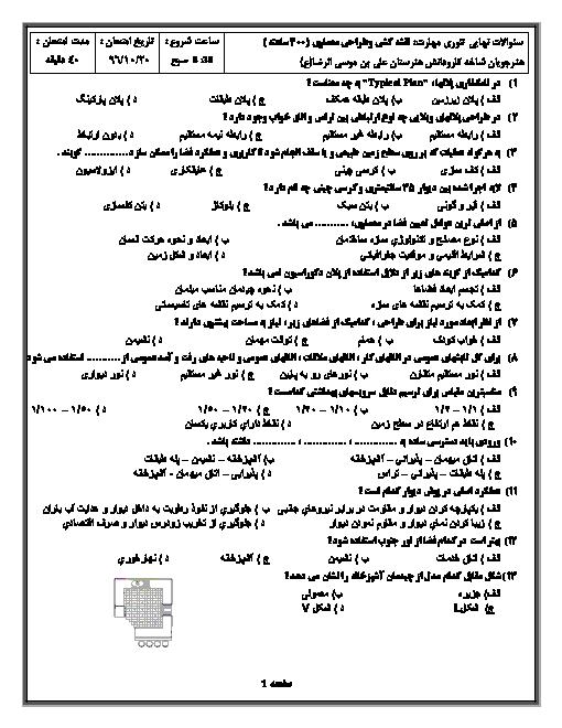 آزمون پایانی مهارت نقشه کشی و طراحی معماری هنرستان کاردانش علی بن موسی الرضا | دیماه 96