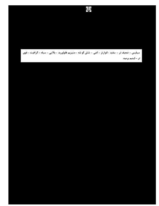 سوالات امتحان فصل 3 شیمی دوازدهم دبیرستان شهید صدوقی ندوشن | شیمی جلوهای از هنر، زیبایی و ماندگاری