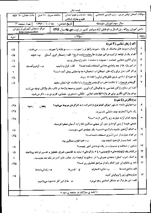 سوالات امتحان نهایی زبان فارسی تخصصی با پاسخنامه | دی ماه 1392