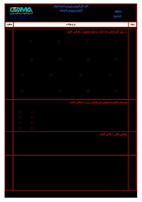 آزمون نوبت دوم ریاضی ششم هماهنگ ناحیه 1  و 2 اصفهان   خرداد 1398 + جواب