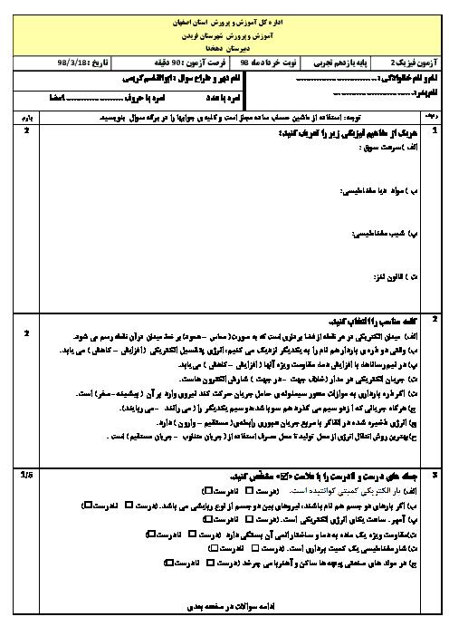 سوالات امتحان ترم دوم فیزیک (2) یازدهم تجربی دبیرستان دهخد | خرداد 1398