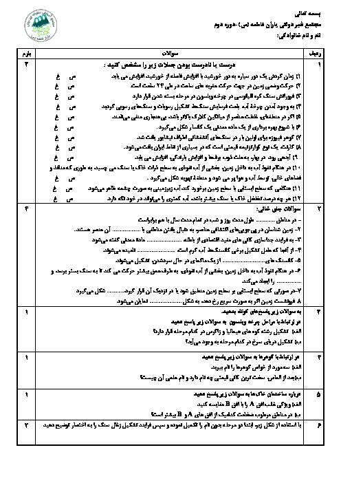 امتحان ترم اول زمین شناسی یازدهم دبیرستان یاران فاطمه تهران   دیماه 97