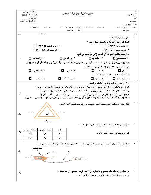 آزمون نوبت دوم علوم تجربی پایۀ هشتم دبیرستان شهید رضا پناهی | خرداد 96