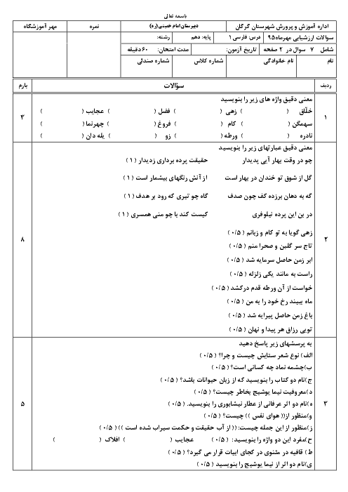 آزمون فارسی (1) پایه دهم دبیرستان امام خمینی گرگان | درس 1: چشمه و سنگ