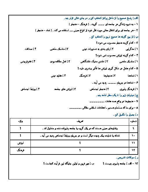 ارزشیابی مستمر مطالعات اجتماعی نهم مدرسه شهید صدوقی | درس 17: فرهنگ تا درس 18: هویت