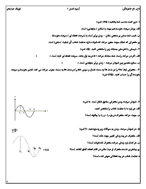 آزمونک فیزیک (3) رشته ریاضی دوازدهم دبیرستان سلام مبین | فصل 1: حرکت بر خط راست
