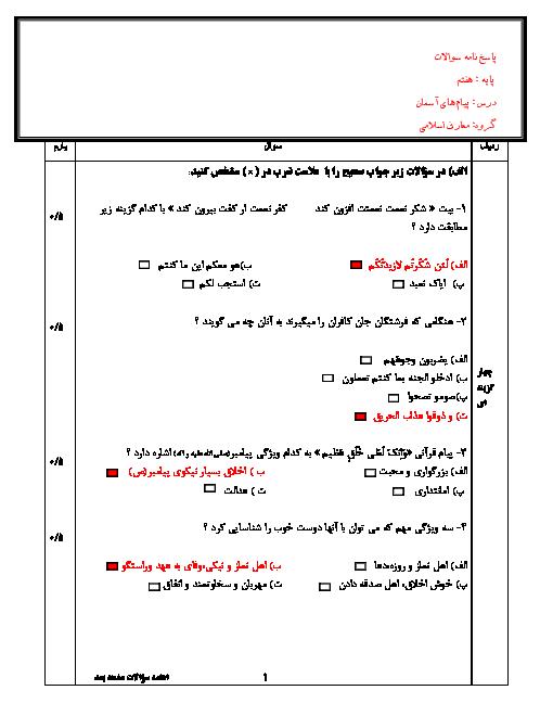 آزمون نوبت دوم پیام های آسمان پایه هفتم مدرسه امام رضا (ع) + جواب | خرداد 96