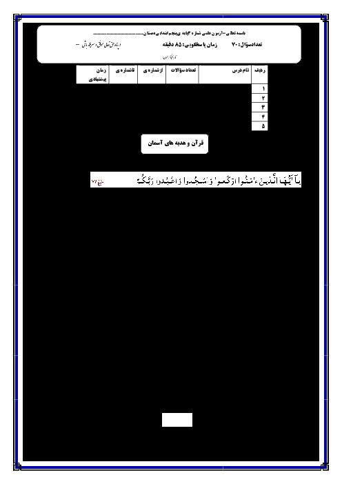 آزمون علمی پایۀ پنجم دبستان   آذر 95