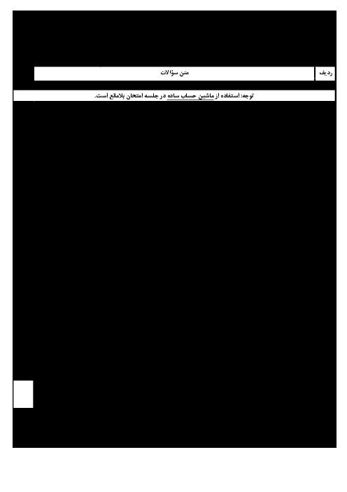 سؤالات و پاسخنامه امتحان هماهنگ استانی نوبت دوم خرداد ماه 96 درس ریاضی پایه نهم | نوبت صبح و عصر استان گیلان