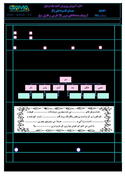 آزمون فارسی و نگارش سوم ابتدائی | درس 9: بوی نرگس