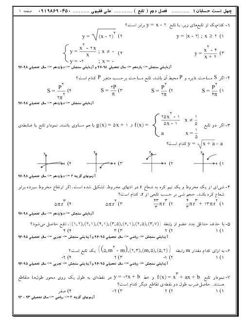 160 تست تالیفی، کنکوری و آزمون های آزمایشی حسابان (1) یازدهم | فصل 2: تابع
