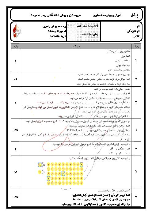 سوالات و پاسخ امتحان نوبت اول شیمی (1) پایۀ دهم دبیرستان پسرانۀ موحد تهران | دی 95