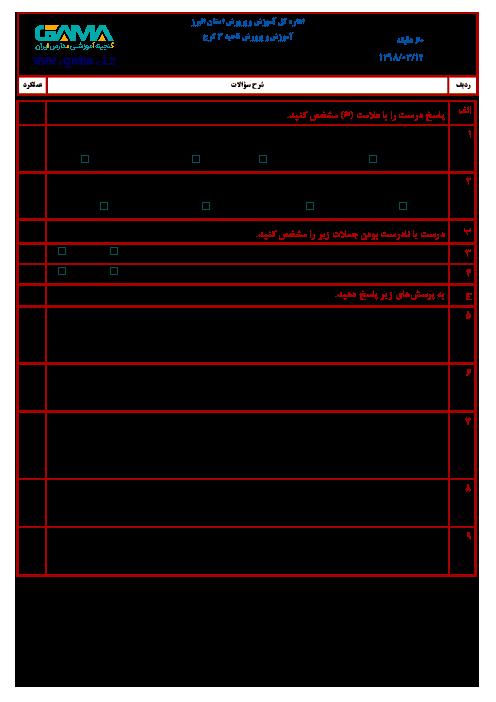 آزمون نوبت دوم املای فارسی ششم هماهنگ ناحیه 3 کرج | خرداد 1398 (شیفت صبح)