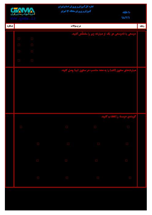آزمون نوبت دوم ریاضی ششم هماهنگ منطقه 14 تهران   خرداد 1398 + پاسخنامه