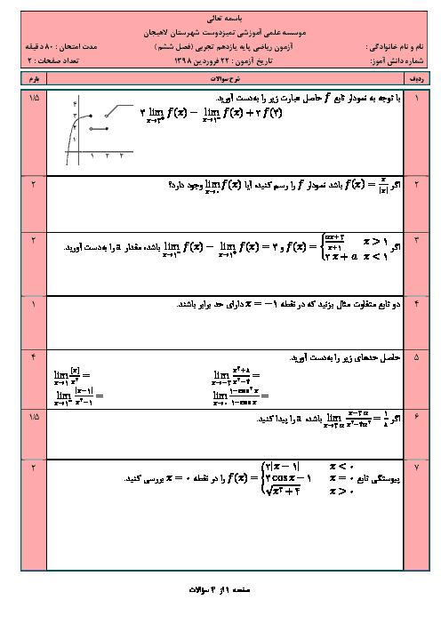 امتحان فصل 6 ریاضی یازدهم آموزشگاه تمیزدوست لاهیجان | حد و پیوستگی (درس 1و2و3)