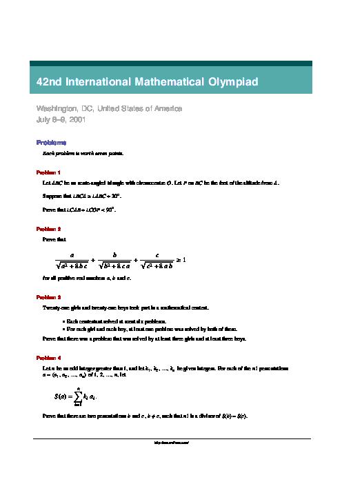 سؤالات چهل و دومین دوره المپیاد جهانی ریاضی | سال 2001 (آمریکا)