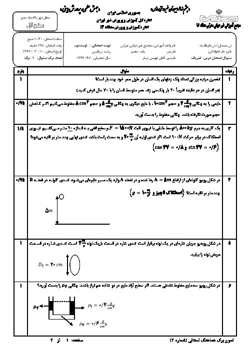 آزمون نوبت دوم فیزیک دهم ریاضی دبیرستان غیردولتی مدرس | خرداد 1396