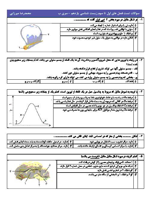 آزمون چهارگزینه ای فصل 1 تا 3 زیست شناسی یازدهم با پاسخ کاملا تشریحی
