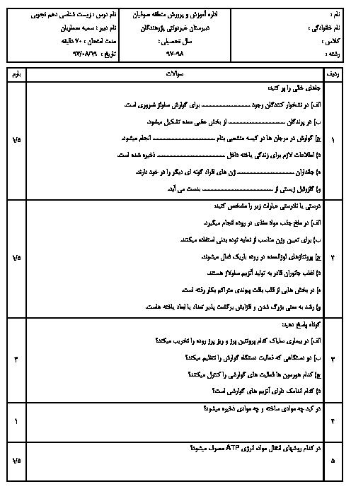 امتحان مستمر فصل 1 و 2 زیست شناسی (1) دهم دبیرستان پژوهندگان