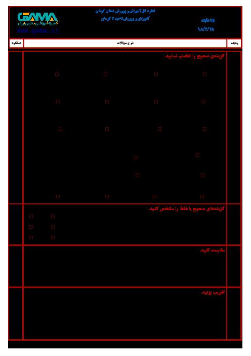 آزمون نوبت دوم ریاضی ششم هماهنگ ناحیه 2 کرمان | اردیبهشت 1398