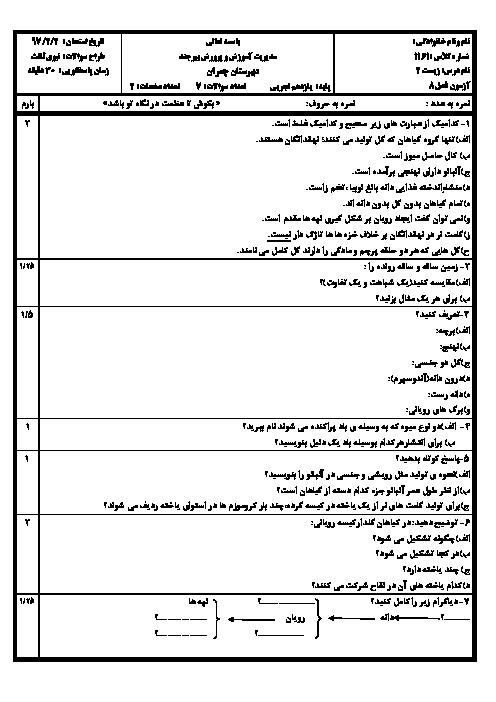 آزمون زیست شناسی (2) پایه یازدهم دبیرستان شهید چمران بیرجند |  فصل هشتم- تولید مثل نهاندانگان