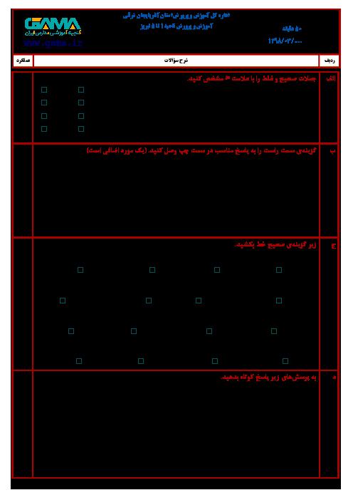 آزمون نوبت دوم مطالعات اجتماعی ششم هماهنگ نواحی پنجگانه شهر تبریز (شیفت عصر) | خرداد 1398