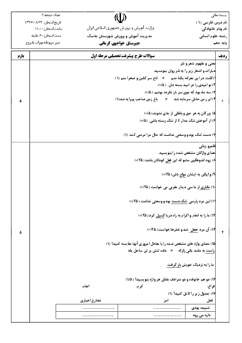 سوالات امتحان مستمر فارسی (1) دهم دبیرستان خواجوی کرمانی - آبان 96:  درس 1 تا 5