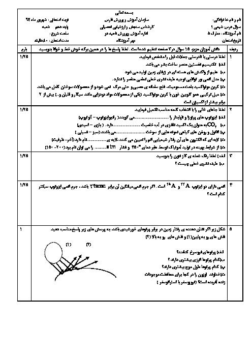 سوالات امتحان جبرانی نوبت دوم شیمی (1) پایه دهم دبیرستان معارف | شهریور 1397