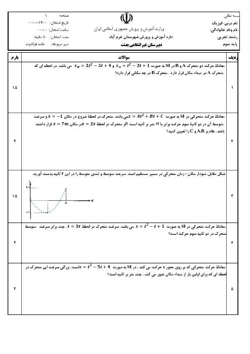 آزمون فصل 1 فیزیک (3) تجربی دوازدهم دبیرستان غیرانتفاعی بعثت خرم آباد | حرکت بر خط راست + پاسخ