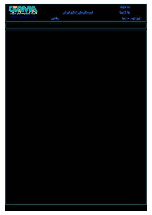 سؤالات امتحان هماهنگ استانی نوبت دوم ریاضی پایه نهم شهرستانهای تهران | خرداد 1398
