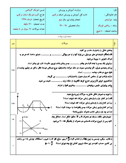 سه سری نمونه سؤال امتحانی نوبت دوم فیزیک دوازدهم ریاضی | گروه فیزیک استان مرکزی