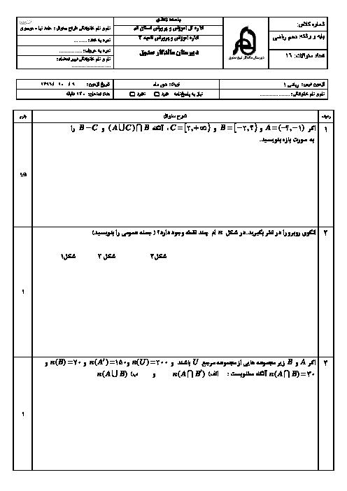 آزمون نوبت اول ریاضی (1) دهم دبیرستان ماندگار شیخ صدوق | دی 1396