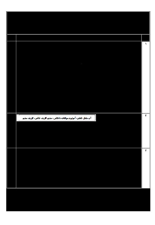 آزمون نوبت دوم شیمی (1) دهم دبیرستان امام خمینی   خرداد 1397 + پاسخ