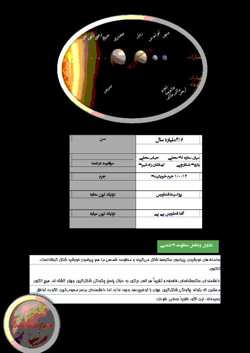 تحقیق در مورد تشکیل و تکامل منظومه شمسی