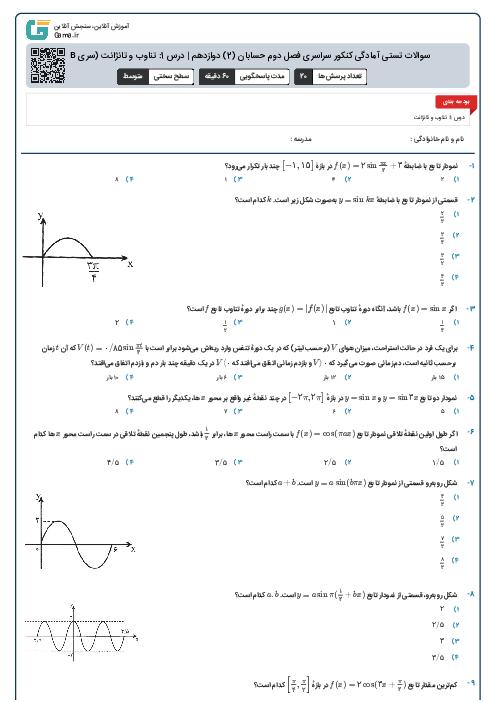 سوالات تستی آمادگی کنکور سراسری فصل دوم حسابان (2) دوازدهم   درس 1: تناوب و تانژانت (سری B)