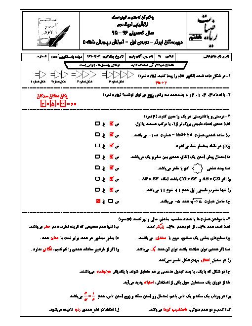 آزمون نوبت دوم ریاضی هفتم + پاسخنامه آموزشگاه ابوذر منطقه ١١ تهران  l خرداد٩٦