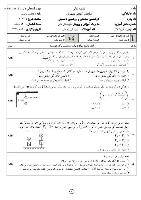 آزمون نوبت اول فیزیک (2) یازدهم دبیرستان پژوهش | دی 1399