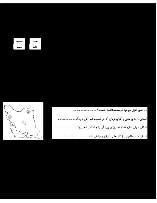 آزمونک مطالعات اجتماعی ششم دبستان پویندگان دانش   فصل 4: ایران و منابع انرژی