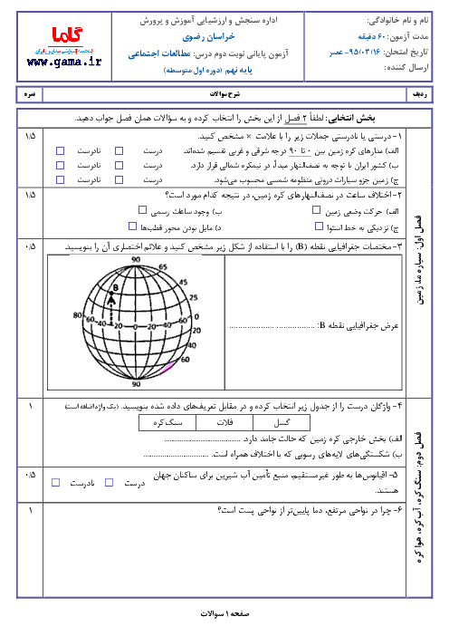 سوالات امتحان هماهنگ استانی نوبت دوم خرداد ماه 95 درس مطالعات اجتماعي پایه نهم با پاسخنامه | نوبت عصر خراسان رضوي