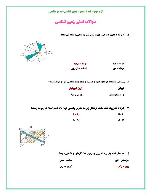 سوالات تستی زمین شناسی یازدهم دبیرستان اسراء | فصل 1 تا 7