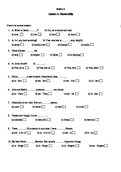 مجموعه سوالات تستی درس به درس انگلیسی نهم   درس 1 تا 6