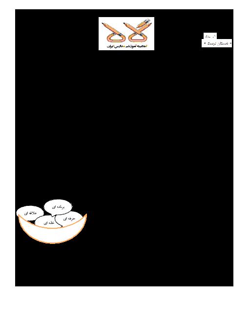 آزمون نوبت دوم فارسی پایه سوم ابتدایی دبستان تربیت | خرداد 95